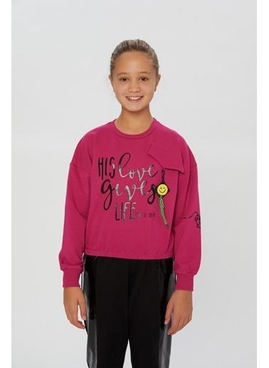 Little Star Little Star Kız Çocuk Love Gives Sweatshirt Fuşya